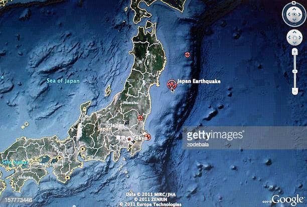 Japan 2011 Earthquake Satellite Map