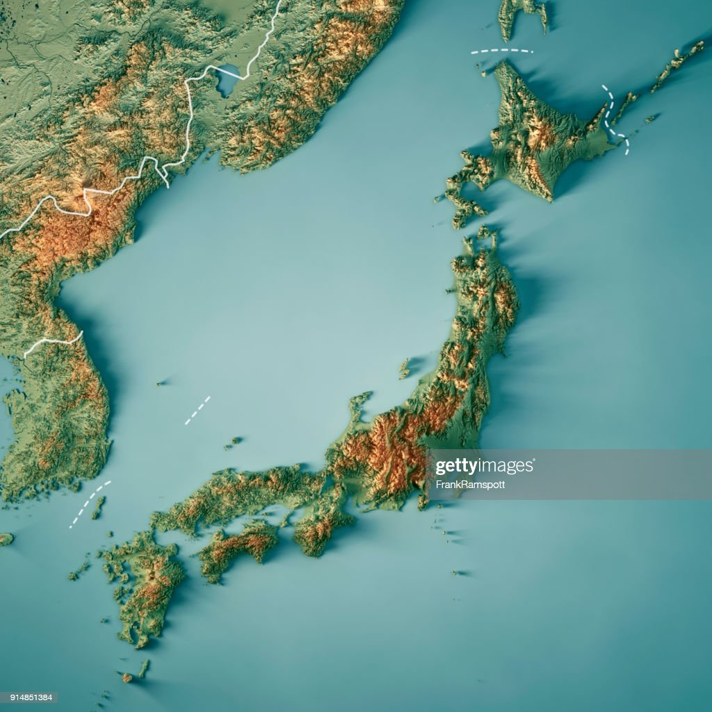 Japan 3d Render Topographic Map Border Stock Photo Getty Images