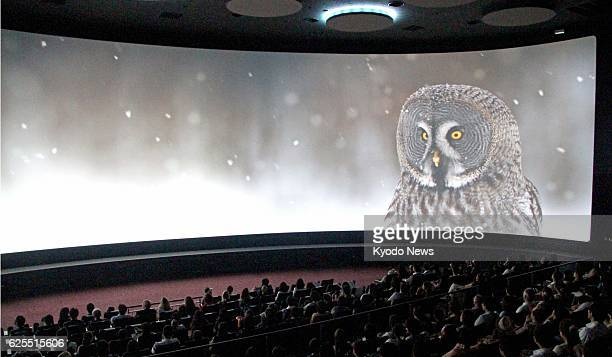 YOKOHAMA Japan A 20minute presentation of nature scenes is shown on a 40 meters wide and 8 meters high screen at Orbi Yokohama an audiovisual museum...