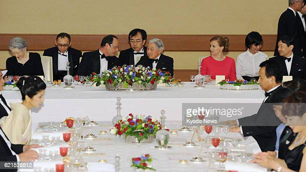 TOKYO Japan A banquet hosted by Emperor Akihito and Empress Michiko is held at the Imperial Palace in Tokyo attended by French President Francois...