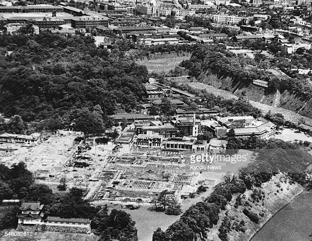 TOKYO Japan A bird's eye view of scorched land surrounding the Imperial Palace in Tokyo after air raids The photo was taken in 1945 with its specific...
