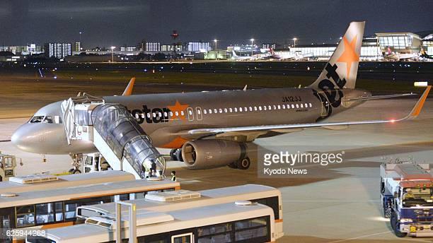 FUKUOKA Japan A Jetstar Japan Co passenger plane is pictured after making an emergency landing at Fukuoka airport in southwestern Japan on Sept 18 as...