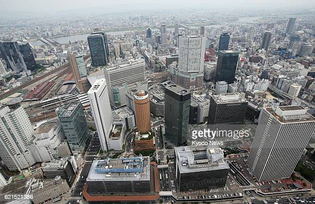 OSAKA Japan A June 6 photo from a Kyodo News helicopter shows JR Osaka Station and surrounding areas Osaka Prefecture said the same day a massive...