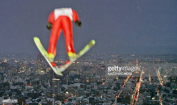 Ski-jumper soars in the air during a practice session of the FIS World Cup Ski-Jumping 13th competition in Sapporo, northern Japan, northern Japan,...