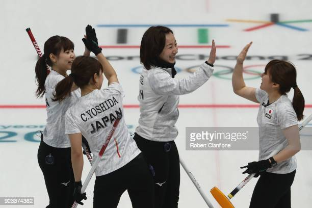 Japan acknowledge eachother during the Women's Semi Final match between Korea and Japan on day fourteen of the PyeongChang 2018 Winter Olympic Games...