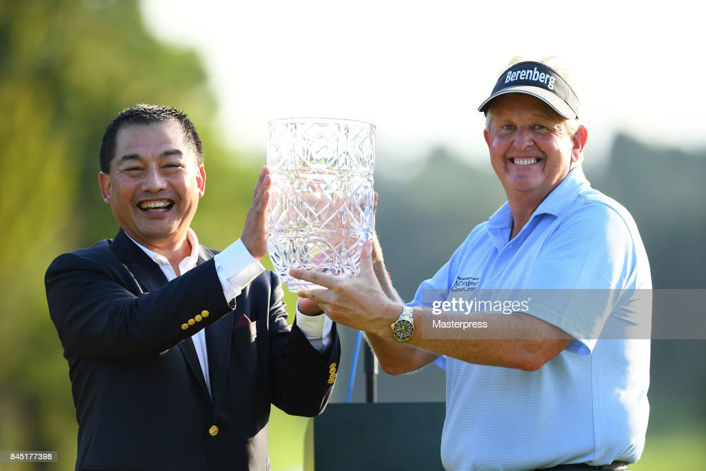 Japan Airlines Chairman Masaru Onishi (L) of Japan and Colin Montgomerie(R) of Scotland pose with the trophy after winning the Japan Airlines Championship at Narita Golf Club-Accordia Golf on September 10, 2017 in Narita, Chiba, Japan.