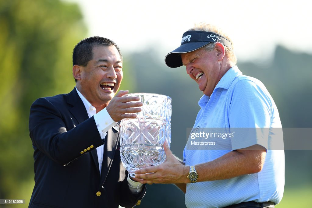 Japan Airlines Chairman Masaru Onishi(L) of Japan and Colin Montgomerie(R) of Scotland smiles with the trophy after winning the Japan Airlines Championship at Narita Golf Club-Accordia Golf on September 10, 2017 in Narita, Chiba, Japan.
