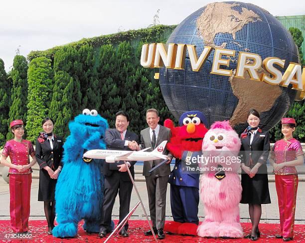 Japan Airlines Co president President Yoshiharu Ueki and USJ Co Chairman CEO Glenn Gumpel announce their new business partnership at Universal...