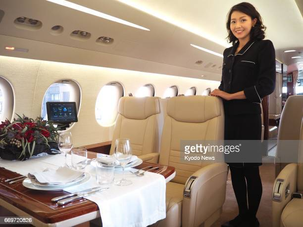 Japan Airlines Co unveils the interior of a business jet at Tokyo's Haneda airport on April 18 2017 The aircraft will be used for a connecting flight...