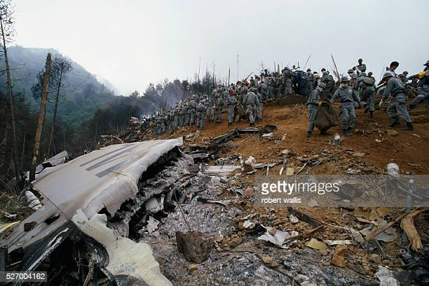 Japan Airlines flight 123 crash site. The Boeing 747SR plane crashed due to equipment failure into the lower slopes of Mount Osutaka, killing all but...