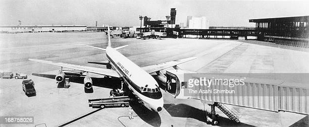 Japan Airlines Flight 446 from Frankfurt first airplane to land the New Tokyo International Airport is seen on May 21 1978 in Narita Chiba Japan...