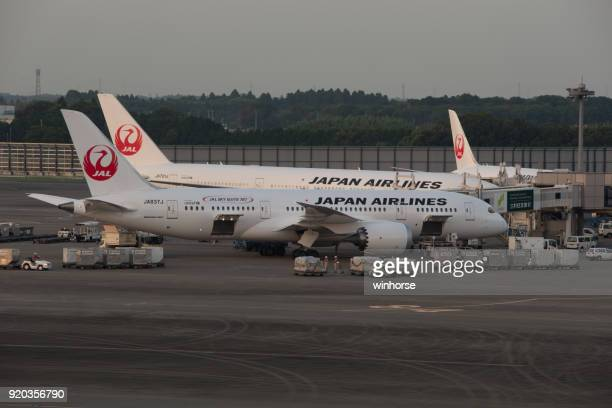 japan airlines (jal) - narita international airport stock photos and pictures