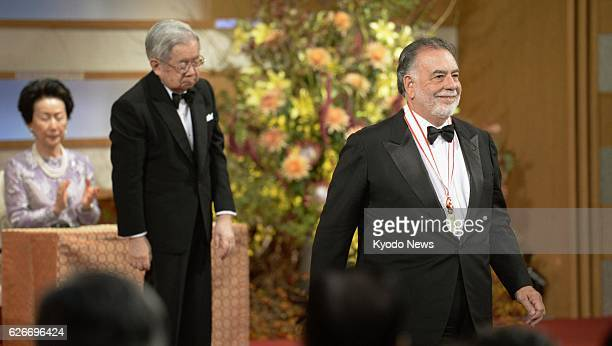 Japan - American film director Francis Ford Coppola is pictured after receiving a Praemium Imperiale medal from Prince Hitachi , younger brother of...
