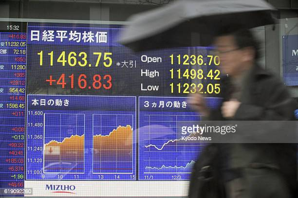 TOKYO Japan An electronic board in Tokyo's Yaesu district shows Japan's Nikkei stock index ending at 1146375 on Feb 6 up 41683 points from the...