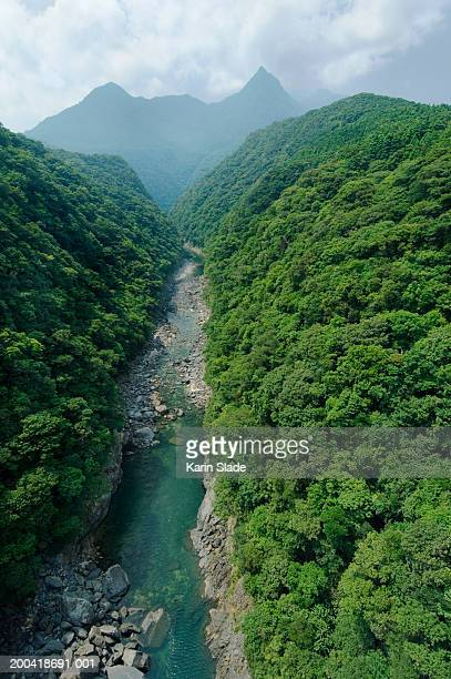 Japan, Anbo River in mountains, elevated view