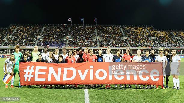 Japan and France players pictured to promote FIFA's 'ENDviolence' campaign during the FIFA U20 Women's World Cup Papua New Guinea 2016 Semi Final...