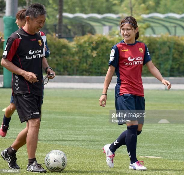 Japan and INAC Kobe Leonessa striker Nahomi Kawasumi trains in Kobe on June 17 2016 The club said the same day that Kawasumi will move to the Seattle...