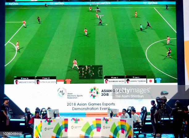 Japan and Iran compete in the eSports Pro Evolution Soccer final at Mahaka Square on day fourteen of the Asian Games on September 1, 2018 in Jakarta,...