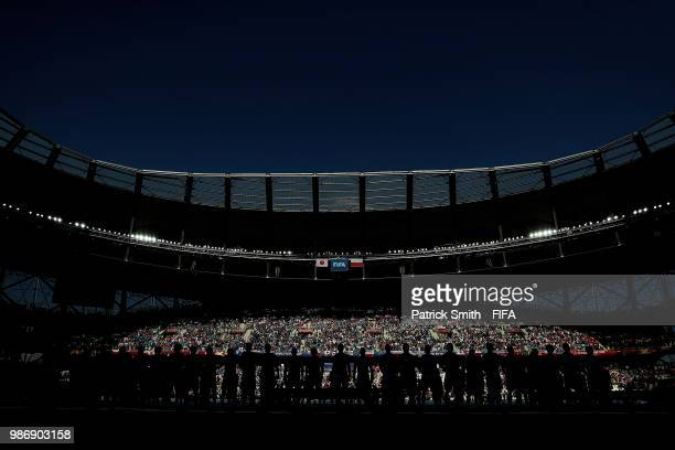 Japan and Poland line up for their national anthems prior to the 2018 FIFA World Cup Russia group H match between Japan and Poland at Volgograd Arena...