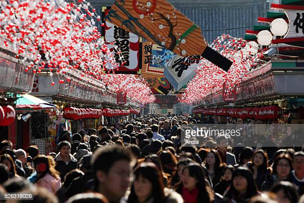 Japan Asakusa district Taito district in Tokyo Crowd in the shopping street NakamiseDori as the New Year approaches