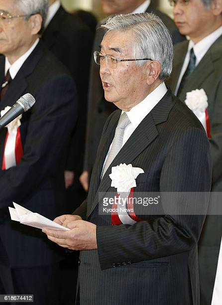 TOKYO Japan Atsushi Saito chief executive officer of Japan Exchange Group Inc speaks during the opening ceremony of the Tokyo Stock Exchange in the...
