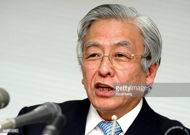 Japan Automobile Manufacturers Association Chairman Nissan Diesel Motor Co CEO Itaru Koeda speaks to reporters at a press briefing in Tokyo on...