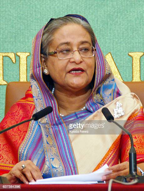 TOKYO Japan Bangladesh Prime Minister Sheikh Hasina holds a press conference at the Japan National Press Club in Tokyo on May 28 2014