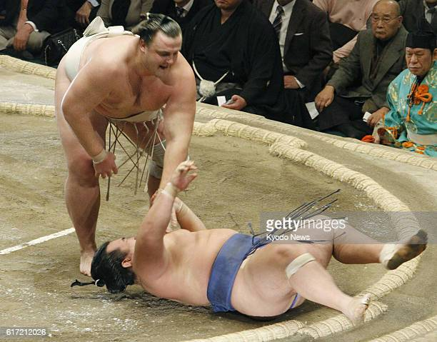 TOKYO Japan Baruto defeats Kotoshogiku during a bout at the New Year Grand Sumo Tournament at Tokyo's Ryogoku Kokugikan on Jan 20 2012 Baruto's...