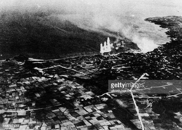Japan Battle of Okinawa Destruction of Japanese air fields and naval bases on the Sakishima Islands south of Okinawa by the British Fleet to support...