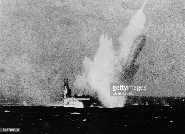 Japan : Battle of Okinawa Destruction of Japanese air fields and naval bases on the Sakishima Islands south of Okinawa by the British Fleet to...