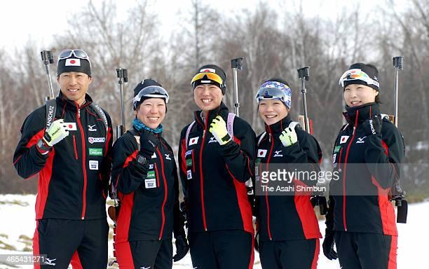 Japan Biathlon members for Sochi Olympic Hidenori Isa Miki Kobayashi Fuyuko Suzuki Yuki Nakajima and Rina Suzuki pose for photographs during a...