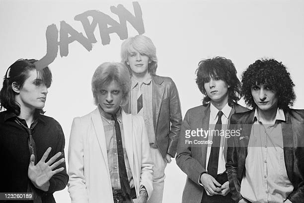 drummer Steve Jansen bassist Mick Karn singer David Sylvian guitarist Rob Dean and synthesizer player Richard Barbieri British New Wave band pose for...