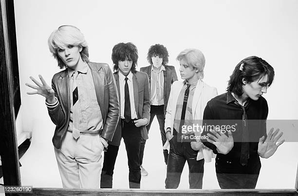 singer David Sylvian guitarist Rob Dean synthesizer player Richard Barbieri bassist Mick Karn and drummer Steve Jansen British New Wave band pose for...