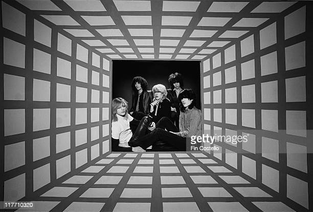 bassist Mick Karn synthesizer player Richard Barbieri singer David Sylvian guitarist Rob Dean and drummer Steve Jansen British New Wave band pose for...
