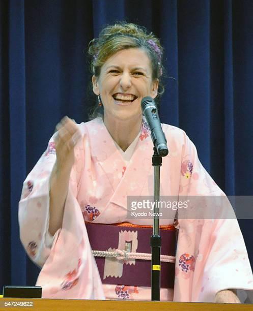 OSAKA Japan British performer Diane Kichijitsu whose real name is Diane Orrett gives a ''rakugo'' comic storytelling performance in the city of Osaka...