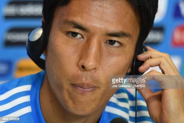 Japan captain Makoto Hasebe during a press conference at Arena das Dunas in Natal