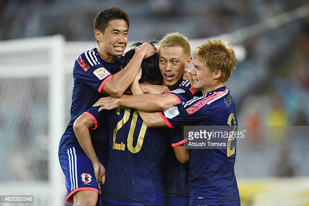 Japan celebrate a goal by Gaku Shibasaki against the United Arab Emirates during the 2015 Asian Cup Quarter Final match between Japan and the United...