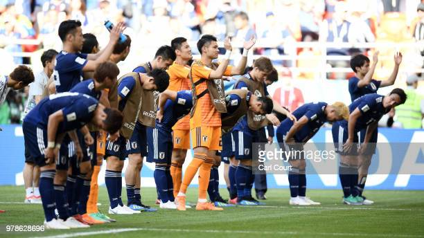Japan celebrate infront of there fans after winning the 2018 FIFA World Cup Russia group H match between Colombia and Japan at Mordovia Arena on June...
