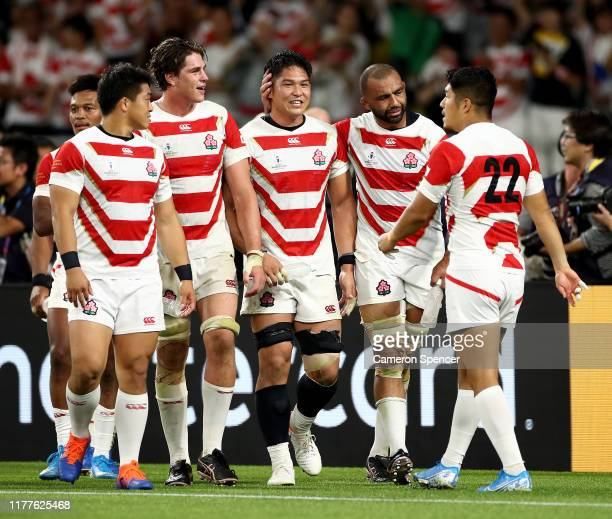 Japan celebrate victory following the Rugby World Cup 2019 Group A game between Japan and Ireland at Shizuoka Stadium Ecopa on September 28 2019 in...