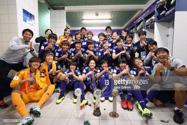 Japan celebrates in the dressing room after during the FIFA U20 Women's World Cup France 2018 Final match between Spain and Japan at Stade de la...