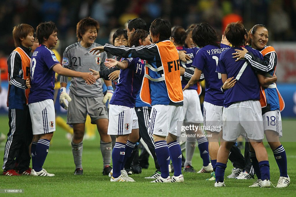 Japan celebrates winning 3-1 the FIFA Women's World Cup Semi Final match between Japan and Sweden at the FIFA World Cup stadium Frankfurt on July 13, 2011 in Frankfurt am Main, Germany.