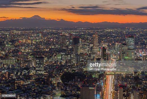 japan city scape at twilight time