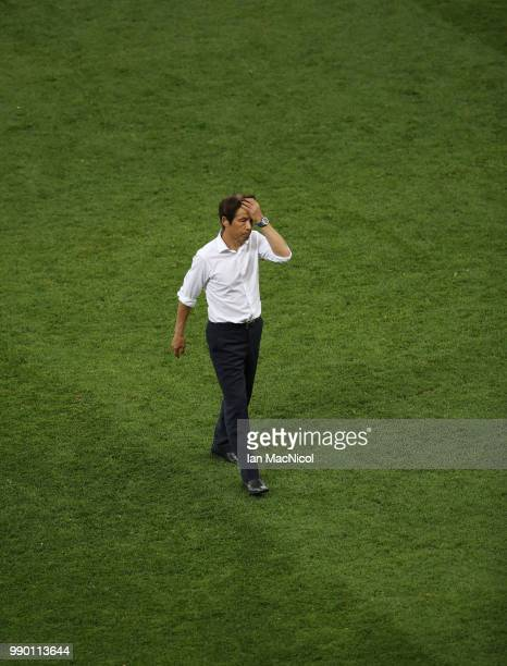 Japan coach Akira Nishino is seen at full time during the 2018 FIFA World Cup Russia Round of 16 match between Belgium and Japan at Rostov Arena on...