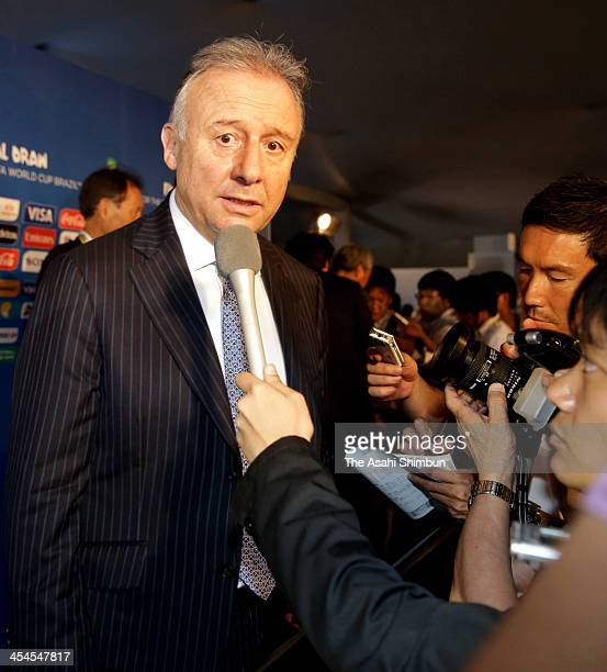 Japan coach Alberto Zaccheroni speaks to members of the media after the Final Draw for the 2014 FIFA World Cup Brazil at Costa do Sauipe Resort on...
