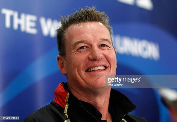 Japan Coach John Kirwan smiles during a Japan IRB Rugby World Cup 2011 team announcement at the Kingsgate Hotel on September 14, 2011 in Hamilton,...