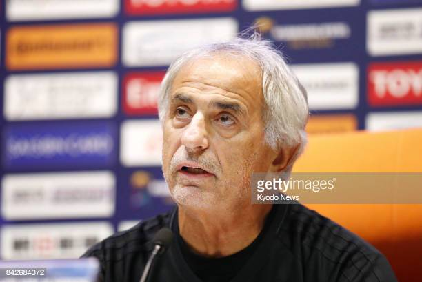 Japan coach Vahid Halilhodzic attends a press conference in Jeddah Saudi Arabia on Sept 4 a day before the last match in the final round of World Cup...