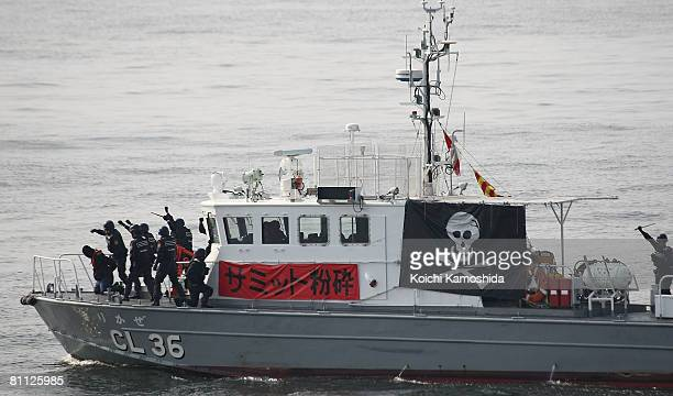 Japan Coast Guard Officers exercise for possible terrorist attacks and predictable protests at G8 Summit during Japan Coast Guard 60th Anniversary...