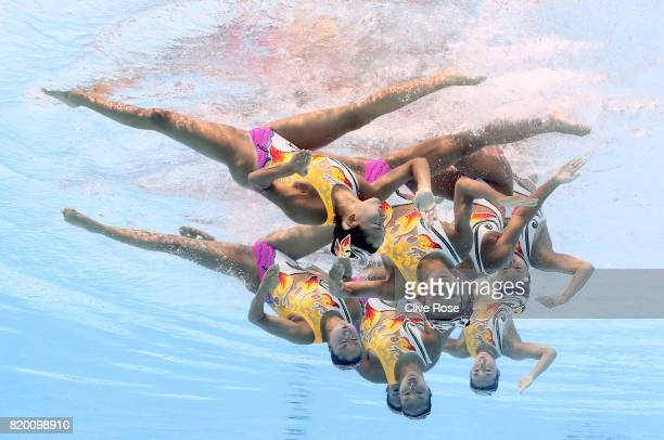 Japan compete during the Synchronised Swimming Team Free final on day eight of the Budapest 2017 FINA World Championships on July 21 2017 in Budapest...