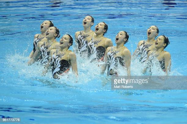 Japan compete during the Team Technical Routine Final on day one of the FINA Artistic Swimming Japan Open at the Tokyo Tatsumi International Swimming...