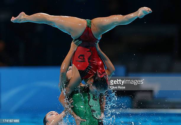 Japan compete in the Synchronized Swimming Free Combination preliminary round on day two of the 15th FINA World Championships at Palau Sant Jordi on...